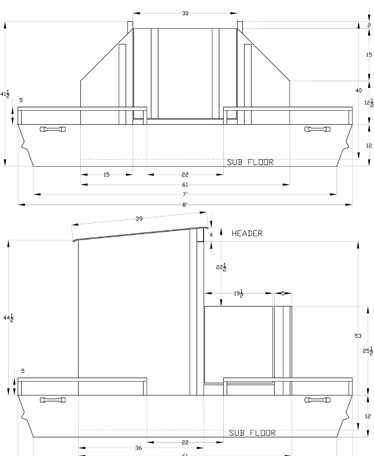 CADD Details for Standard Hard Top Floating Duck Blinds